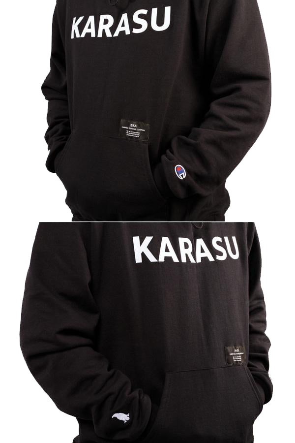 Karasu Clothing Co x Champion Collaboration - Black pullover hoodie, tackle twill embroidered, with silk label and Karasu/Champion logos