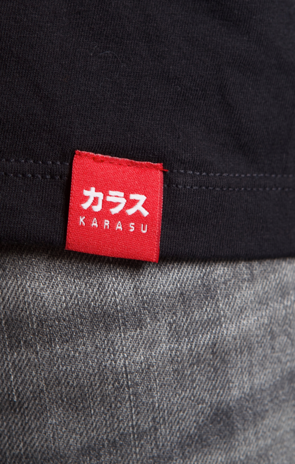 Karasu Clothing Co - Black t-shirt, Karasu tag, model, detail shot