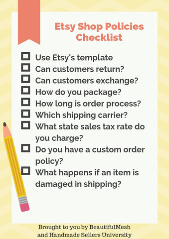 Etsy Shop Policies Checklist Beautifulmesh