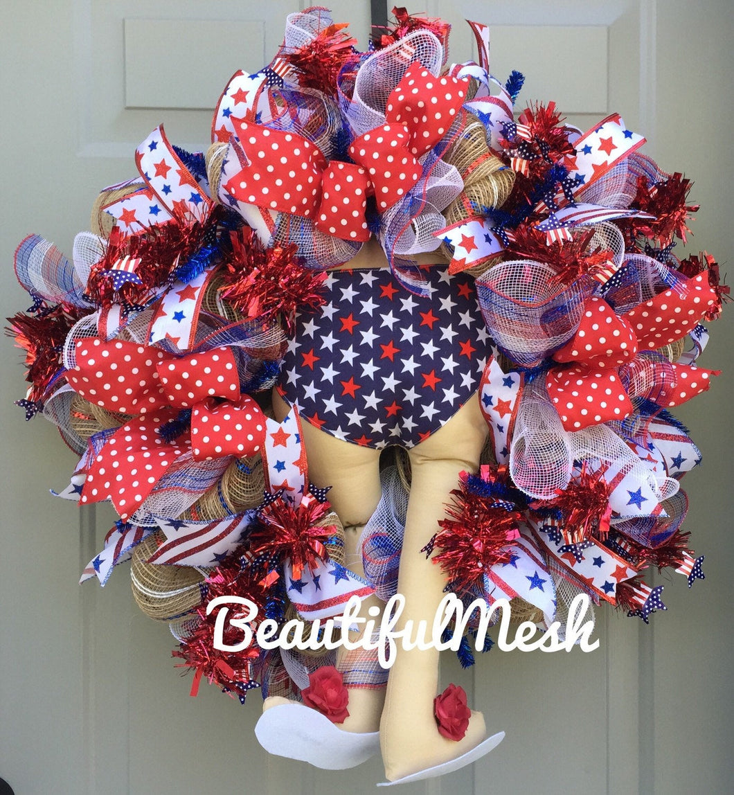 July 4th Wreath, Patriotic Wreath, Red White Blue Wreath, Patriotic Stars and Stripes, July Fourth Decor