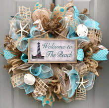 Welcome to the Beach Burlap/Deco Mesh Wreath with Sea Shells, Seashell Wreath, Beach Wreath, Starfish Wreath, Lighthouse Wreath