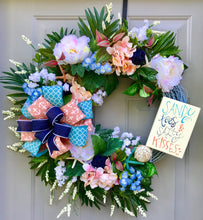 Sandy Toes and Salty Kisses Seashell Wreath, Beach Wreath, Starfish Wreath, Floral Grapevine Wreath