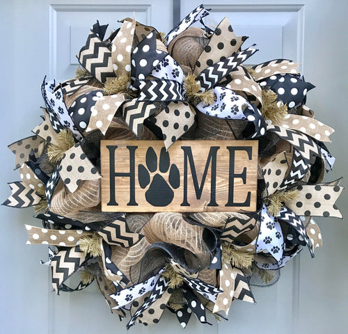 Home Pet Wreath, Dog Black and Brown Burlap Deco Mesh Wreath, Cat Wreath, Welcome Wreath