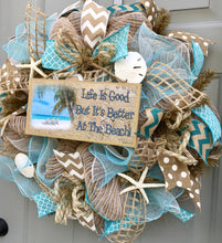 Beach Burlap Deco Mesh Wreath with Sea Shells, Seashell Wreath, Life is Good But Its Better At The Beach