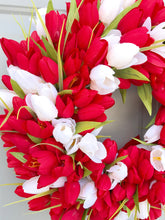 Tulip Wreath, Valentine's Wreath, Spring Summer Tulip Wreath, Red and White Tulips