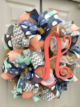 Nautical Monogram Burlap Deco Mesh Wreath, Beach Wreath, Summer Decor, Anchor Wreath