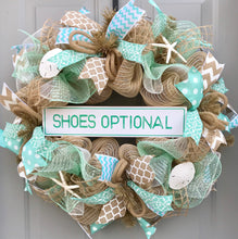 Beach Wreath, Shoes Optional, Burlap Deco Mesh Wreath with Seashells, Seashell Wreath, Sea Shell Wreath, Starfish Wreath