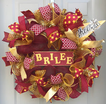 Cheerleader School Spirit Deco Mesh Wreath, Cheer Squad Decor