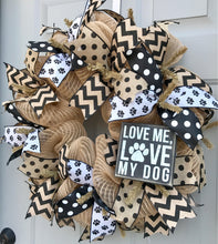 Love Me Love My Dog, Dog Wreath, Pet Wreath, Burlap Deco Mesh Wreath
