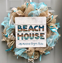 Beach House Burlap Deco Mesh Wreath with Seashells, Seashell Wreath, Sea Shell Wreath, Beach Wreath, Starfish Wreath, Memories Begin Here
