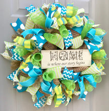 Home is Where Our Story Begins, Home Wreath, Welcome Wreath, Turquoise and Lime Wreath, Burlap Deco Mesh Wreath