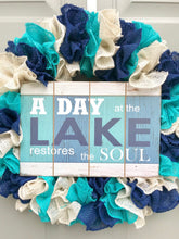 Lake Wreath, Screen Door Wreath, Slim Wreath, A Day At the Lake Restores the Soul, Burlap Wreath
