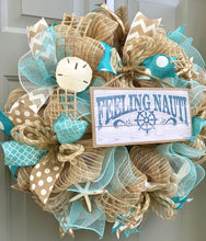 Beach Wreath, Burlap Deco Mesh Wreath with Seashells, Feeling Nauti, Nautical Wreath, Seashell Wreath, Starfish Wreath