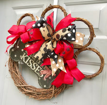Paw Print Wreath, Dog Wreath, Red and Black Wreath, Pet Wreath, Beware Dog Kisses
