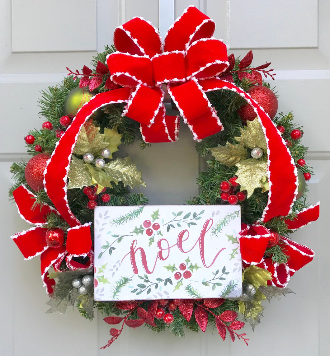 Noel Wreath, Christmas Wreath, Holly Wreath, Berry Wreath, Evergreen Wreath