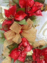 Noel Wreath, Poinsettia Wreath, Christmas Wreath, Grapevine Wreath