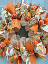 Fall Pumpkin Wreath, Burlap Wreath with Pumpkins, Harvest Decor, Autumn Wreath, Thanksgiving Front Door, Old Green Truck