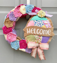 Easter Welcome Wreath, Burlap Roses, Vintage Decor