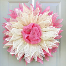 Sunflower Wreath, Pink and Cream Daisy, Flower Front Door Decor