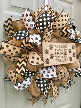 A House is Not a Home Without Rescues Black and Brown Burlap Deco Mesh Wreath