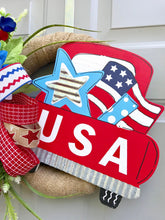 July 4th Red Truck Wreath, Independence Day Decor, Patriotic Rustic Burlap Wreath, Floral July 4th