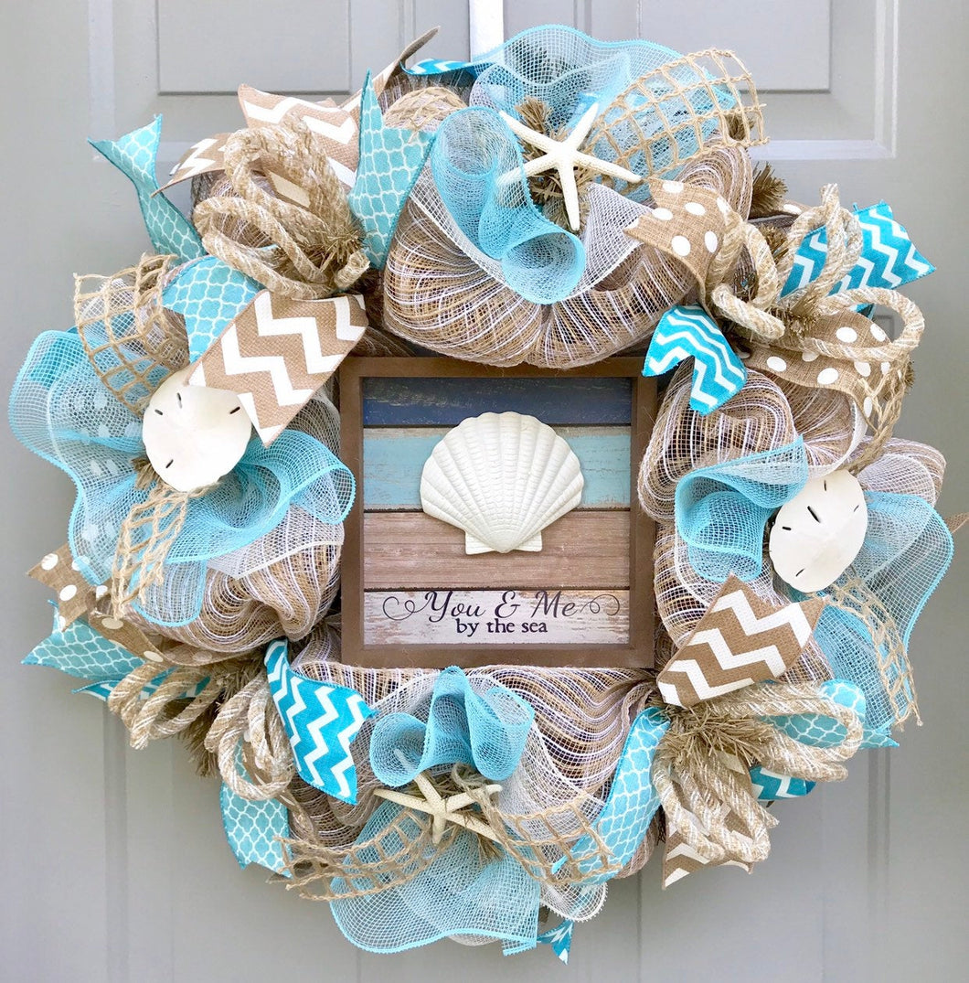 You and Me By The Sea Beach Burlap Deco Mesh Wreath with Seashells, Seashell Wreath, Beach Wreath, Starfish Wreath