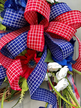 July 4th Wreath, Patriotic Floral Grapevine Wreath, Flag Wreath, July Fourth Wreath, America Wreath, Americana Decor, Patriotic Scarf