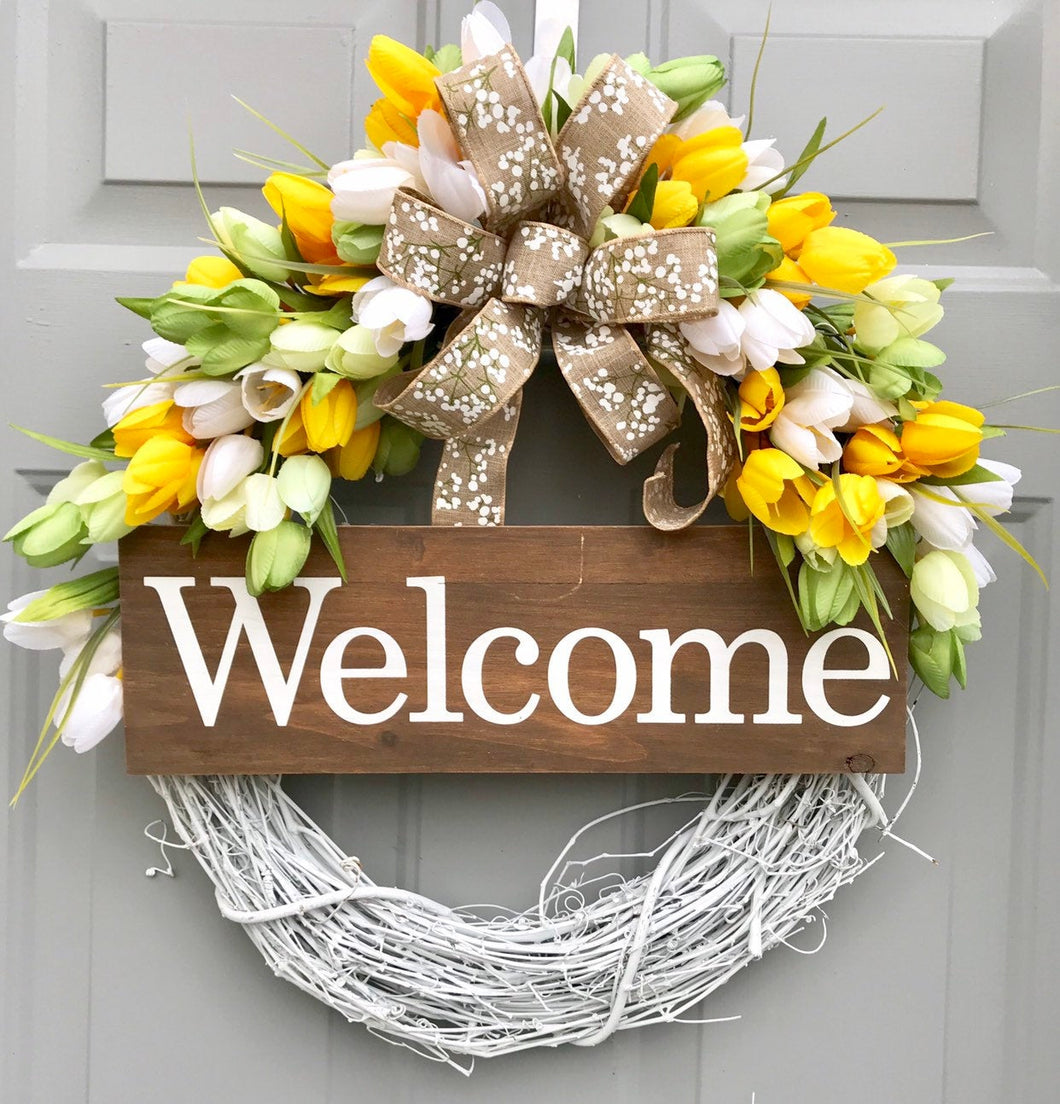 Welcome Tulip Wreath, Grapevine Wreath, Summer Floral Decor