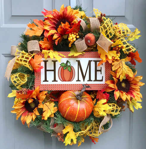 Pumpkin Wreath, Home Wreath, Floral Fall Wreath, Fall Front Porch Decor, Sunflower Front Door, Outdoor Fall