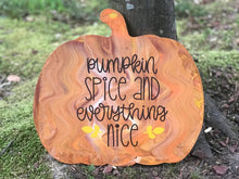Pumpkin Spice and Everything Nice Painted Pumpkin, Halloween Wooden Shelf Sitter for Fall Mantle Decor