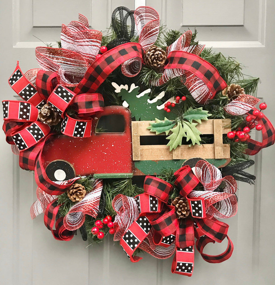 Christmas Red Truck Wreath, Buffalo Plaid Evergreen, Christmas Decor, Old Red Truck