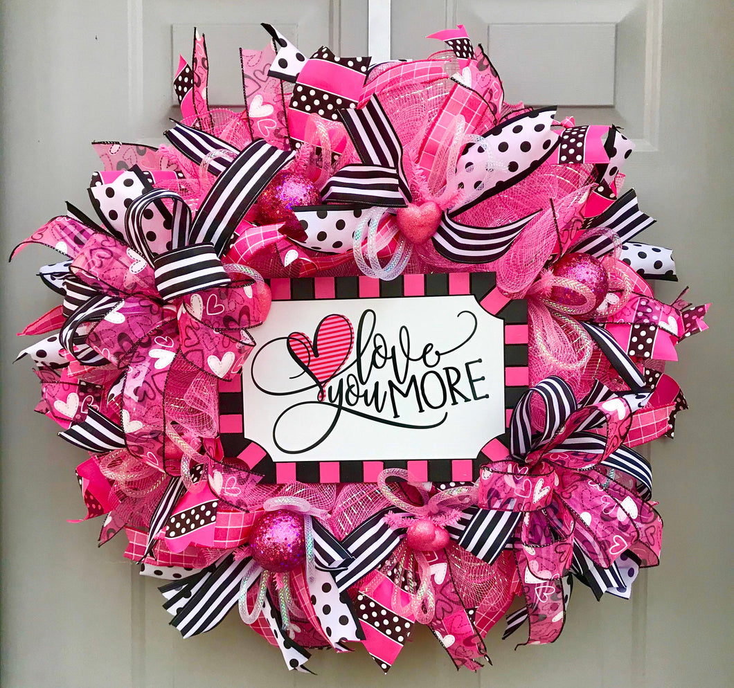 Love You More, Happy Valentine's Day Deco Mesh Wreath, Valentine Themed Heart Decor
