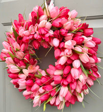 Pink Tulip Wreath for Spring or Summer, Wedding Decor, Valentine's Day, Baby Girl Shower