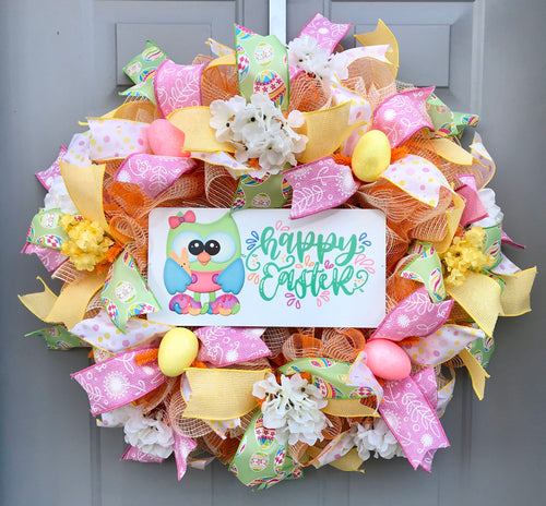Happy Easter Wreath with Hydrangeas and Spring Flowers, Easter Owl with Jelly Beans and Easter Eggs