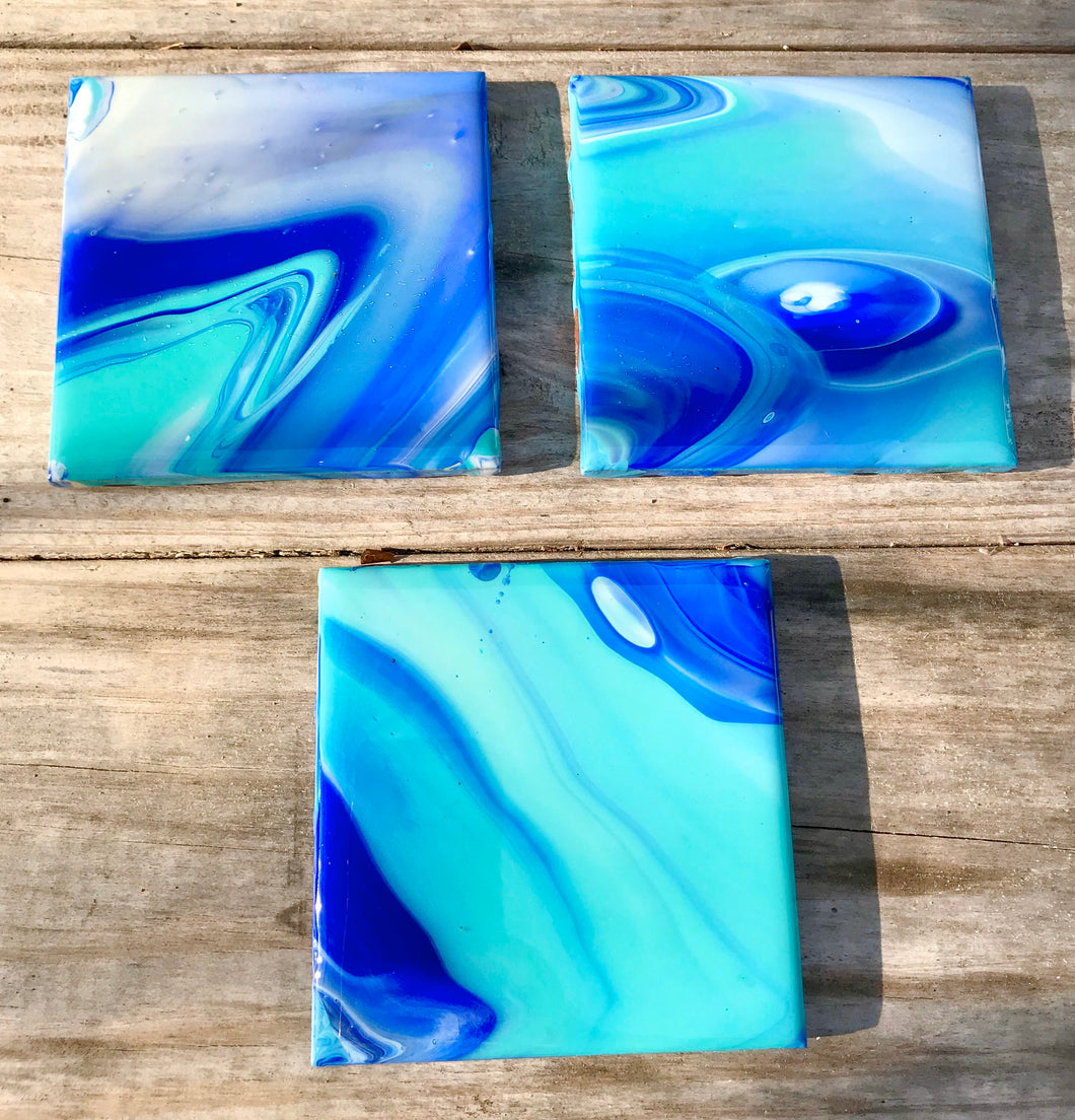Coasters set of 3, Hand painted ceramic drink coasters with resin, Acrylic paint pour art on tile, Beach Fluid art, Beach decor for cottage