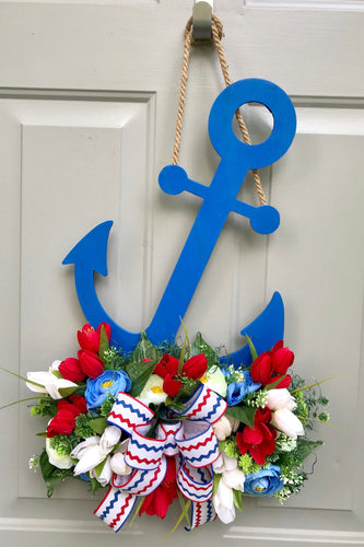 Anchor Door Hanger, Nautical Front Door, Floral Patriotic Anchor, Beach House Decor