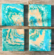 Coasters set of 4, Hand painted ceramic drink coasters with resin, Acrylic paint pour art on tile, Beach Fluid art, Beach decor for cottage