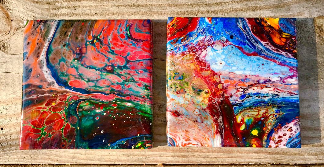 Coasters set of 2, Hand painted ceramic drink coasters with resin, Rainbow Acrylic paint pour art on tile, Fluid art