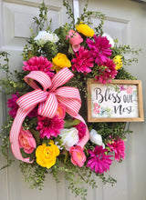 Bless Our Nest Floral Grapevine for Front Door, Wedding Door Flower Decor, Welcome Gift for New Home, Porch Decor