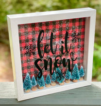 Let It Snow Christmas Decor, 9x9 Shadow Box for side table or foyer, Buffalo Plaid Winter Mantle decor, Bottle Brush Sisal Trees