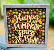 Fall Wall Decor, Happy Pumpkin Spice Season, 9x9 Shadow Box for side table or foyer, Mantle decor