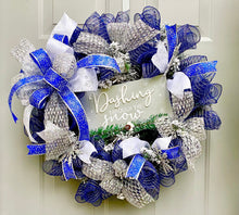 Winter Wreath for Front Door, Christmas Porch Decor, Dashing Through The Snow Holiday Wreath