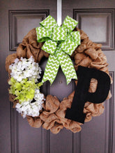 Custom Burlap Monogram Wreath, Rustic Wreath, Initial Wreath, Burlap Wreath