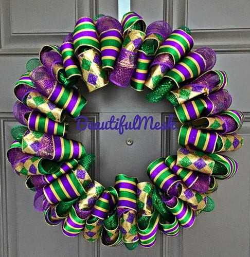 Mardi Gras Fat Tuesday Purple Green and Gold Harlequin and Stripe Ribbon Wreath