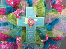 Spring Cross Deco Mesh Wreath - The Lord Your God Will Be With You Wherever You Go, Easter Decor