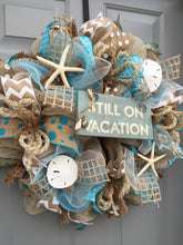 Beach House Nautical Front Door Wreath, Coastal Decor with Seashells, Starfish Wreath Wall Decor for Beach Cottage