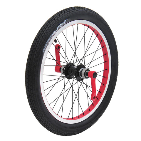 Triad Drift Trike - Cartel Tire and Crank, Front Wheel Set (Black, Blue, Red)