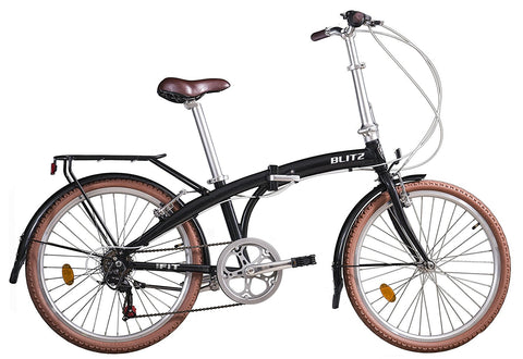 Bike Rassine - Adult Folding Bike, FIT Model, Portable Bicycle with 6V Gears, Black or Brown