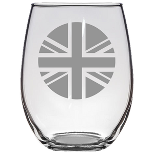 Union Jack Roundel Stemless Wine Glass Laser Etched No Colored Art