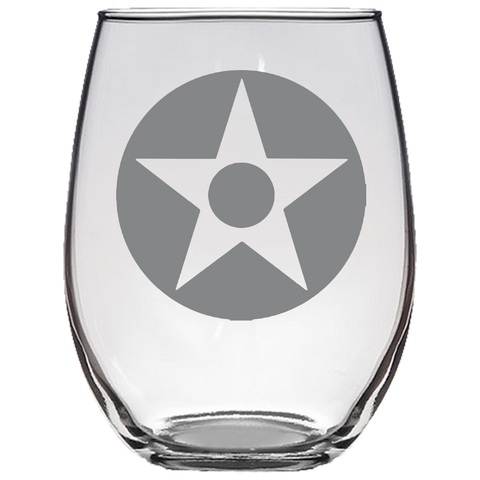 US Star with Red Dot Roundel Stemless Wine Glass Laser Etched No Colored Art
